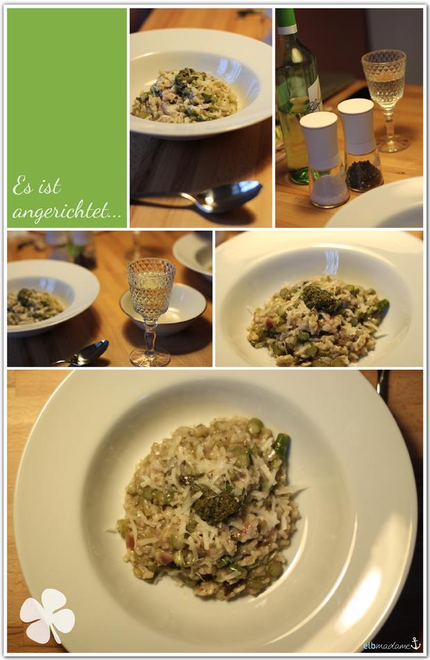 risotto grüner spargel pesto anrichten