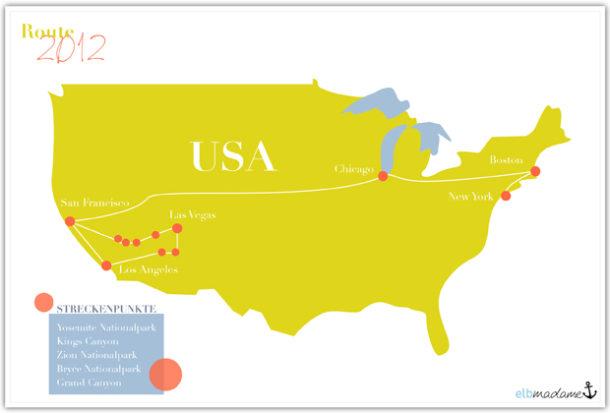 Karte Route USA 2012