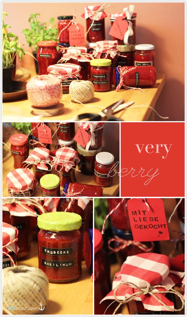 Marmeladengläser Deko Verzierung Stoff Karomuster Label Pappschild Stempel
