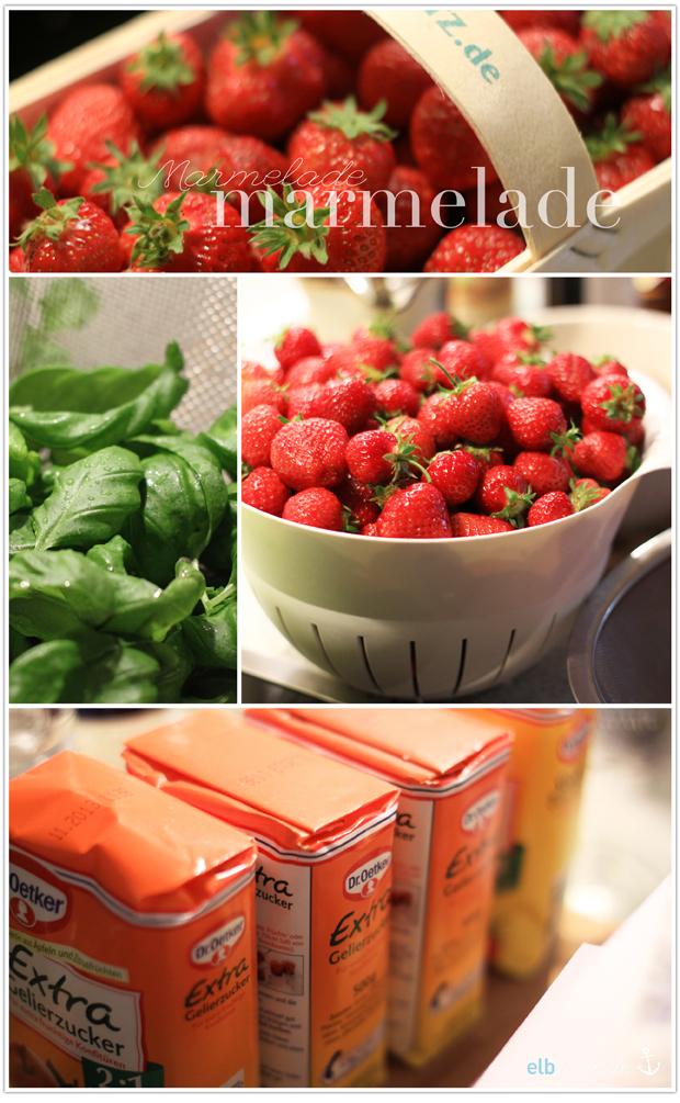 Marmelade Erdbeeren Gelierzucker Basilikum