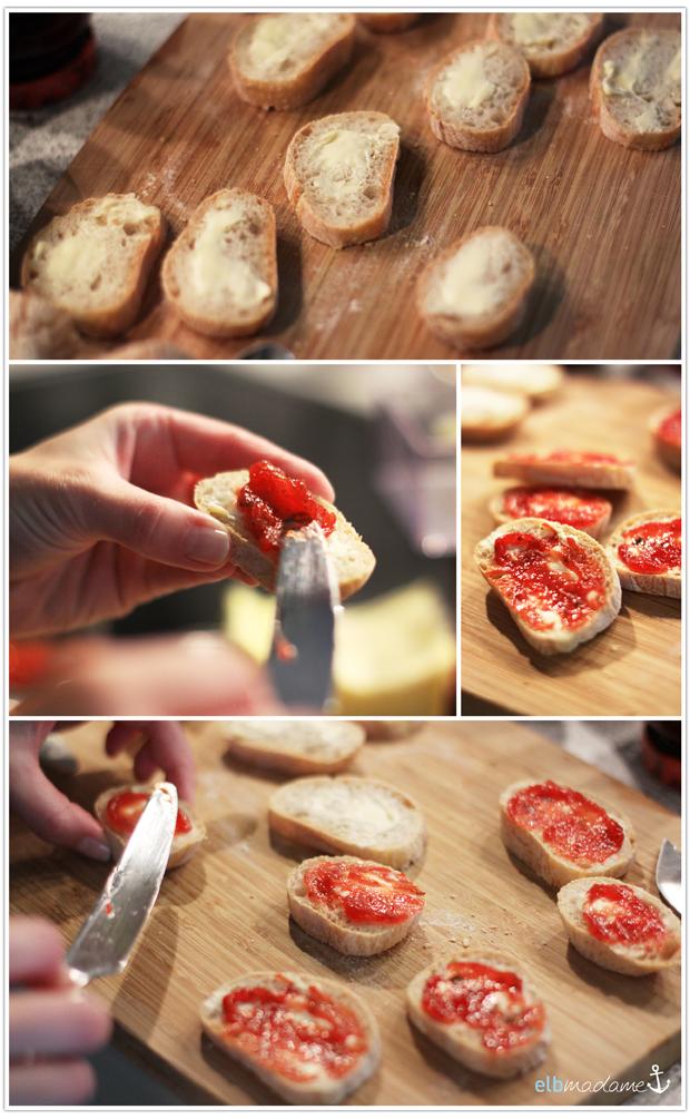 Minze Erdbeere Brot geschmiert