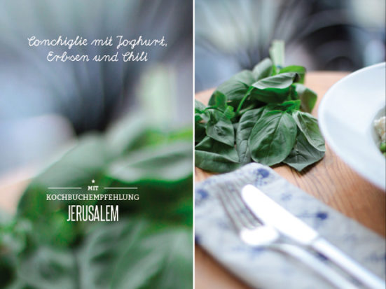 Jerusalem Kochbuch Conchiglie mit Joghurt, Erbsen Chili