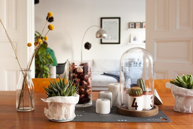 herbstliche tischdeko mit sukkulenten elbmadame. Black Bedroom Furniture Sets. Home Design Ideas