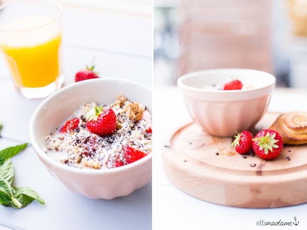 Overniht Oats Frühstück frisch Erdbeeren