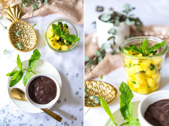 Ananas mit Minze im Weckglas mit Alpro-Joghurt