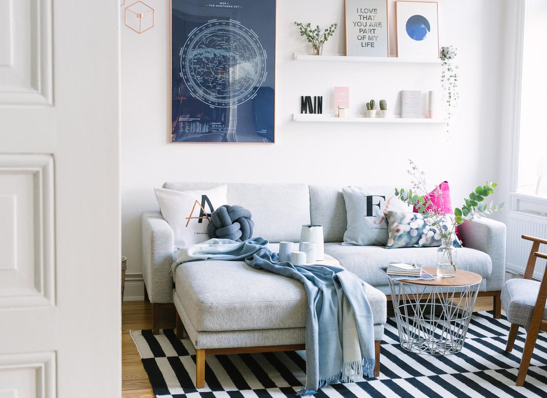 wohnzimmer neu einrichten kupfer ros und blau. Black Bedroom Furniture Sets. Home Design Ideas