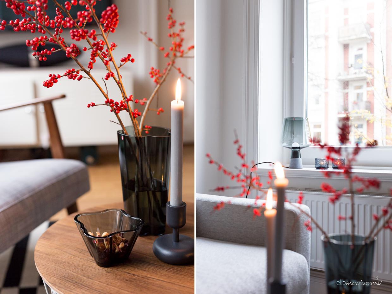 Schlichte Weihnachtsdeko mit Ylexzweigen